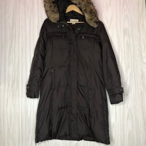 Michael Kors Brown Puffer Down Parka Faux Fur Coat